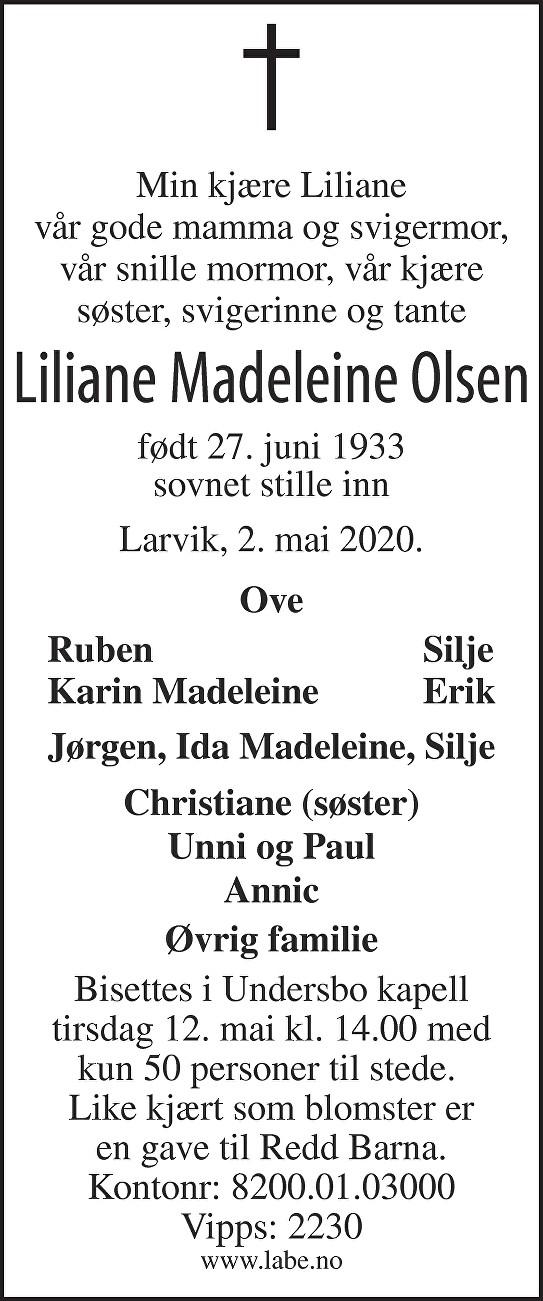Liliane Madeleine Olsen Dødsannonse