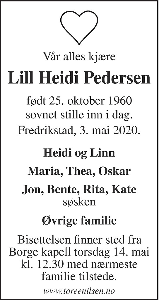 Lill Heidi Pedersen Dødsannonse