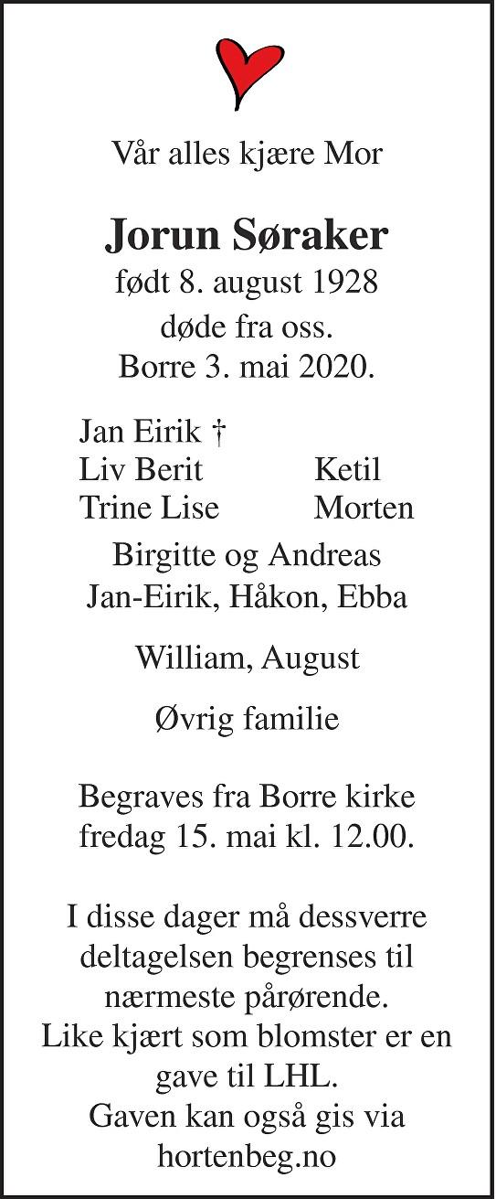 Jorun Elise Søraker Dødsannonse
