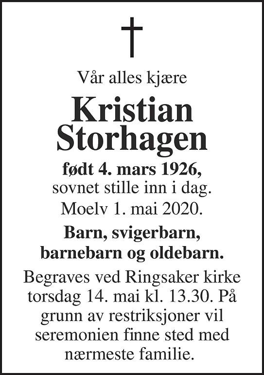 Kristian Storhagen Dødsannonse