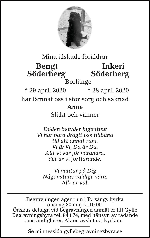 Bengt och Inkeri Söderberg Death notice