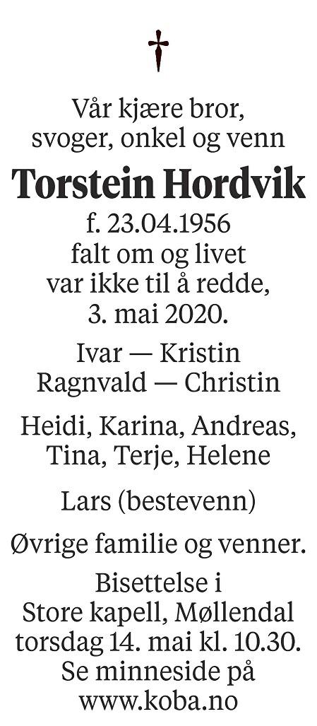 Torstein Hordvik Dødsannonse