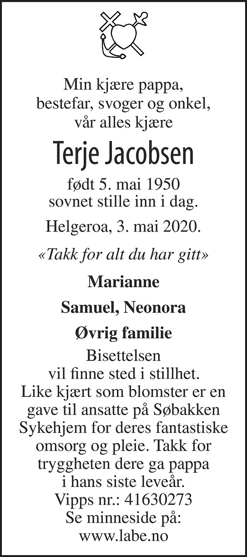 Terje Jacobsen Dødsannonse