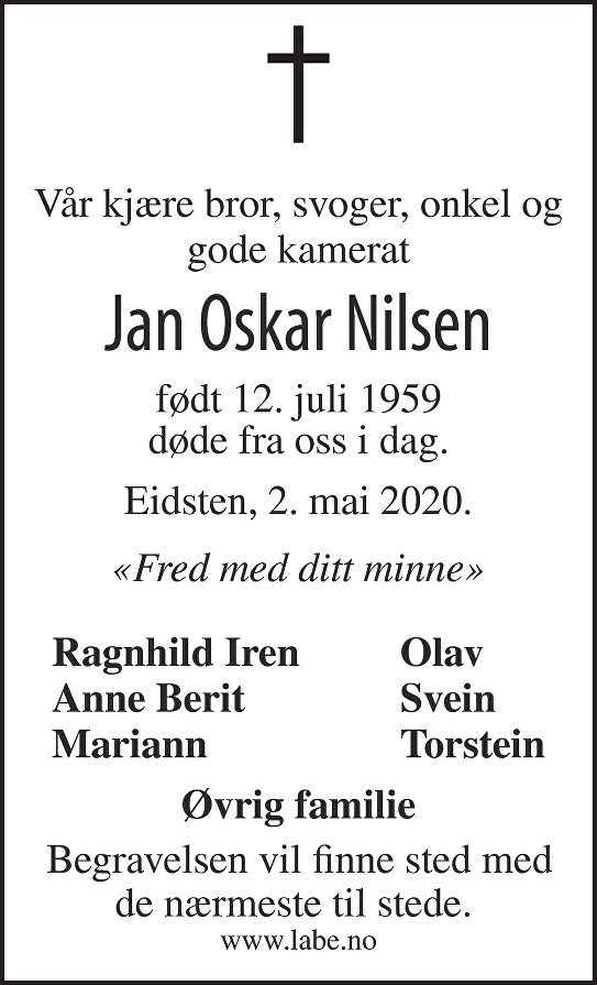 Jan Oskar Nilsen Dødsannonse