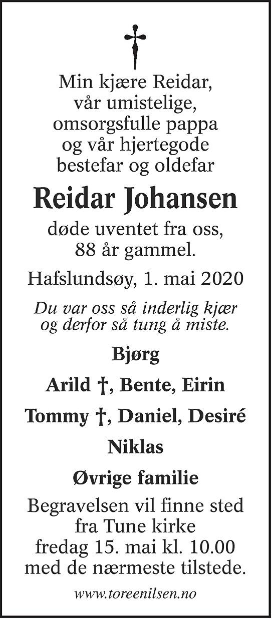 Reidar Johansen Dødsannonse