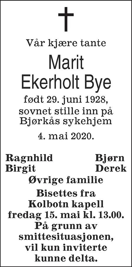 Marit Ekerholt Bye Dødsannonse