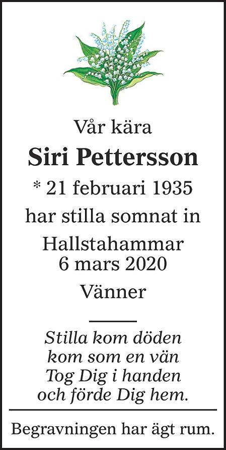 Siri Pettersson Death notice