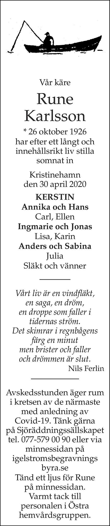 Rune Karlsson Death notice