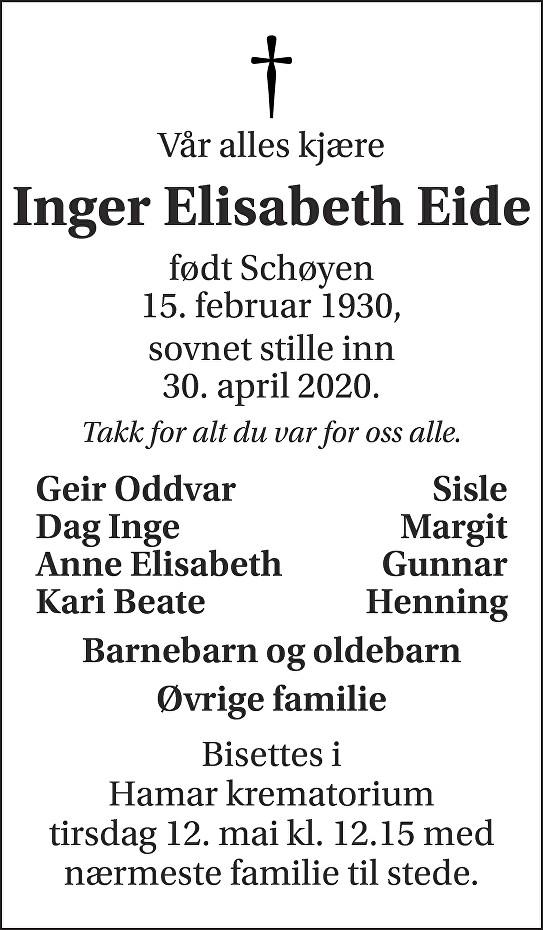 Inger Elisabeth Eide Dødsannonse