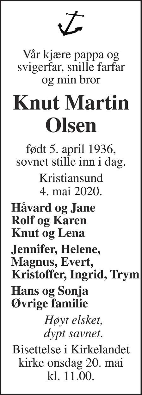 Knut Martin Olsen Dødsannonse