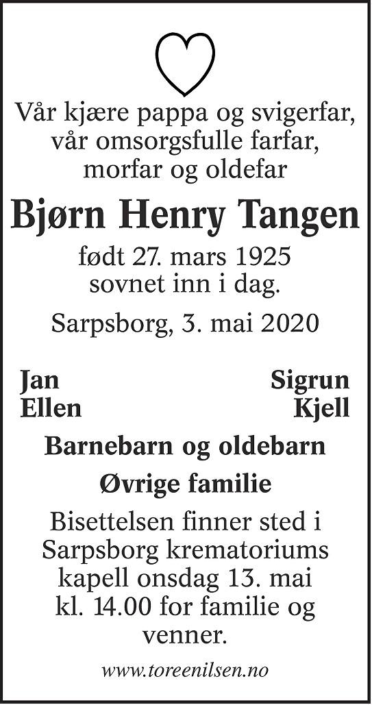 Bjørn Henry Tangen Dødsannonse