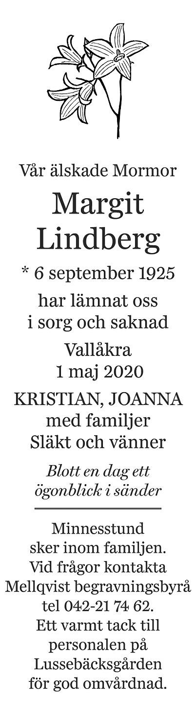 Margit Lindberg Death notice