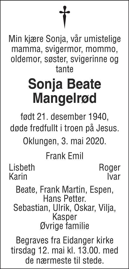 Sonja Beate Mangelrød Dødsannonse