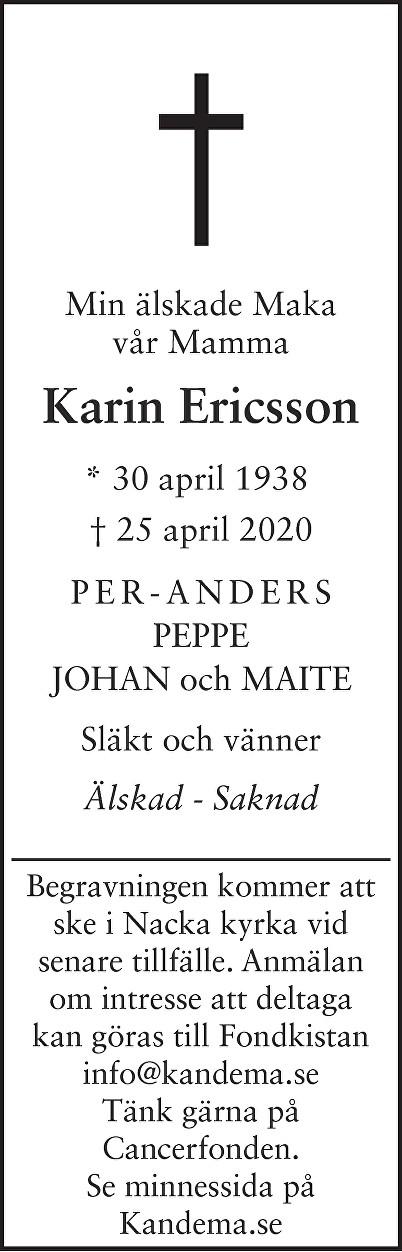 Karin Ericsson Death notice