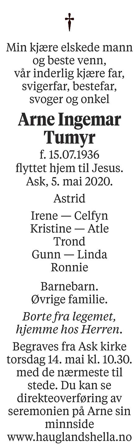 Arne Ingemar Tumyr Dødsannonse