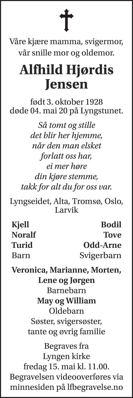Alfhild Hjørdis Jensen Dødsannonse
