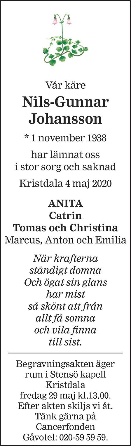 Nils-Gunnar Johansson Death notice