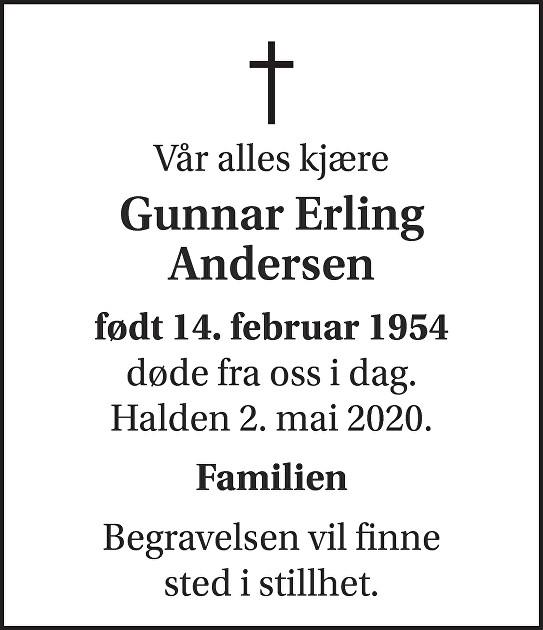 Gunnar Erling Andersen Dødsannonse