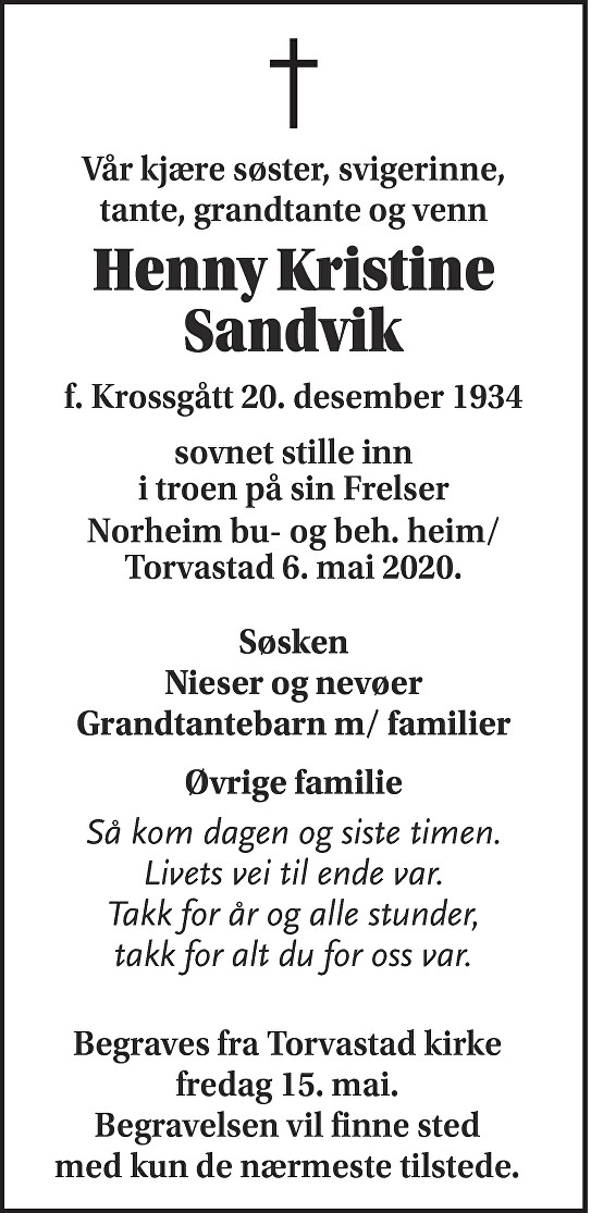 Henny  Sandvik Dødsannonse