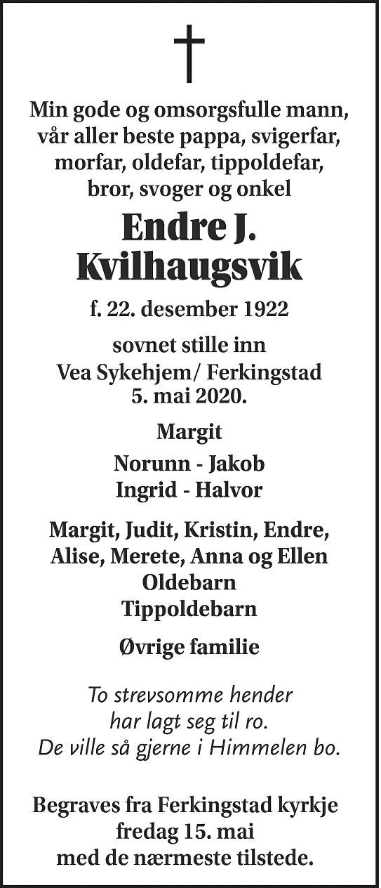 Endre J. Kvilhaugsvik Dødsannonse