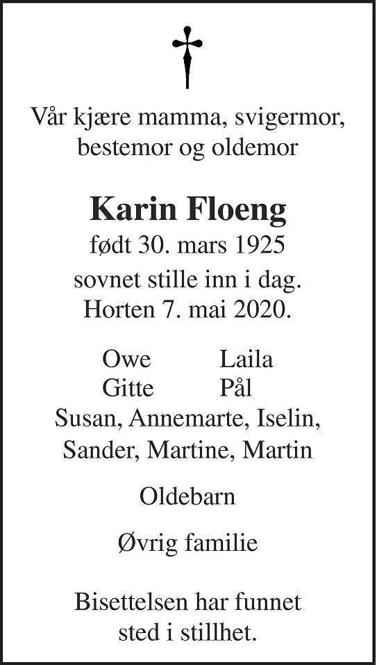 Anne Karin Borgny Floeng Dødsannonse