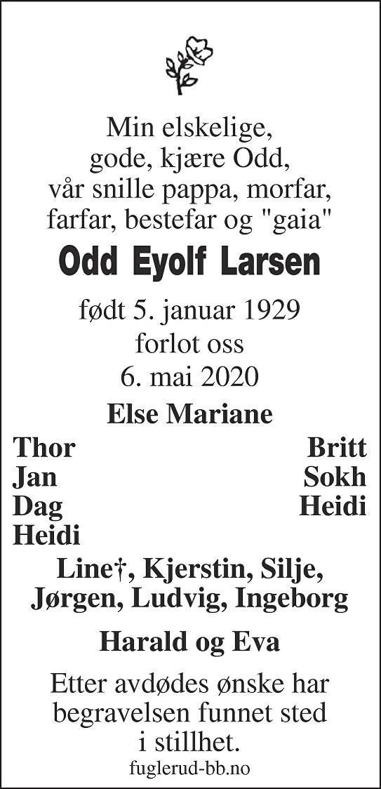 Odd Eyolf Larsen Dødsannonse