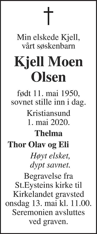 Kjell Moen Olsen Dødsannonse