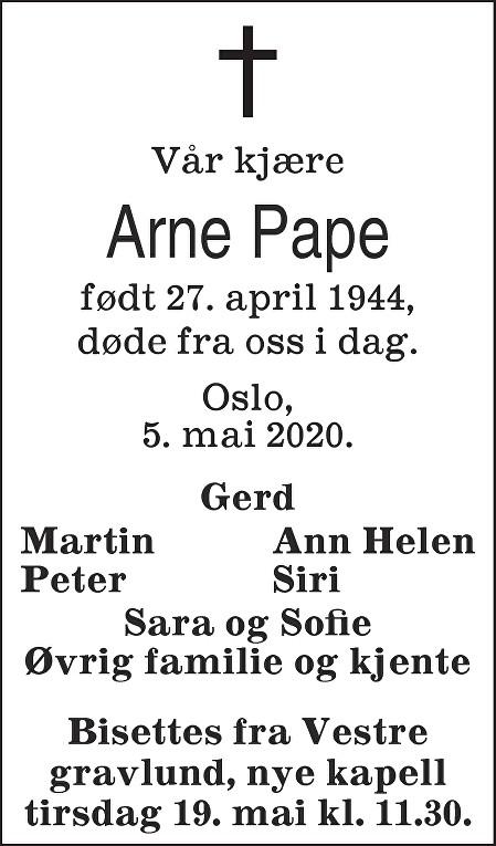 Arne-Johan Pape Dødsannonse