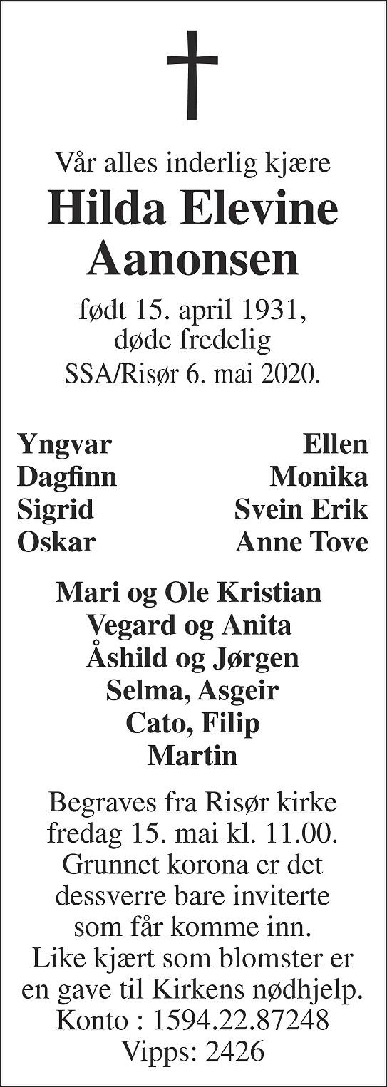 Hilda Elevine Aanonsen Dødsannonse