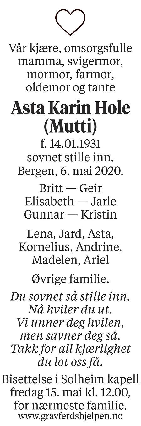 Asta Karin Hole Dødsannonse