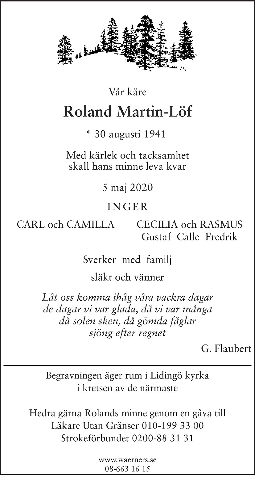 Roland Martin-Löf Death notice