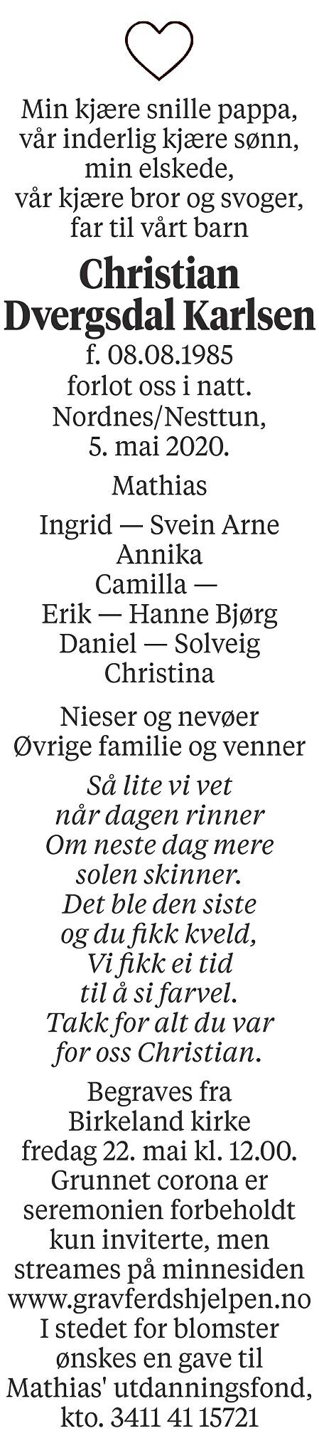 Christian Dvergsdal Karlsen Dødsannonse