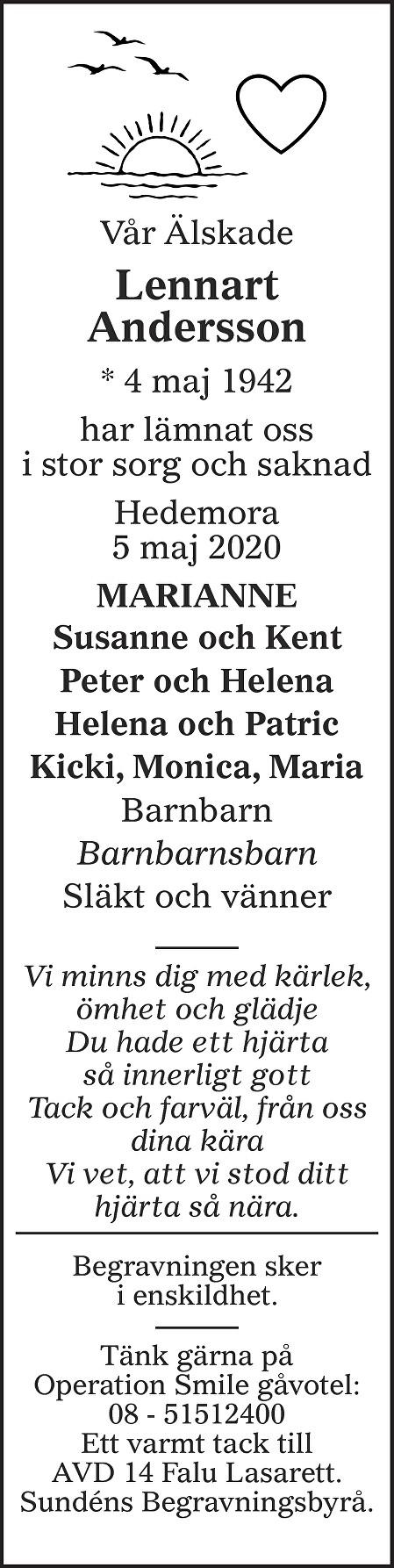 Lennart Andersson Death notice