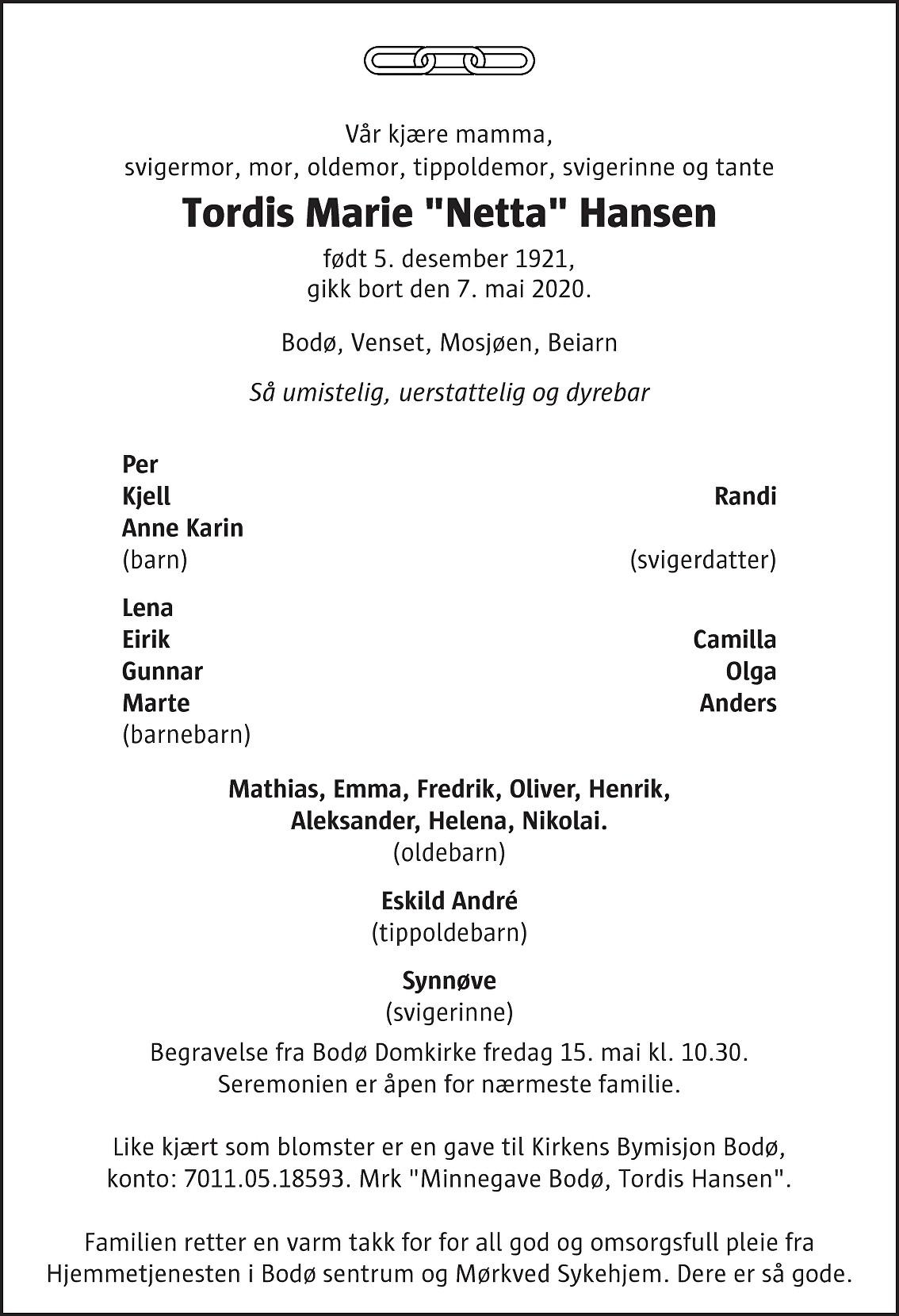 Tordis Marie Hansen Dødsannonse