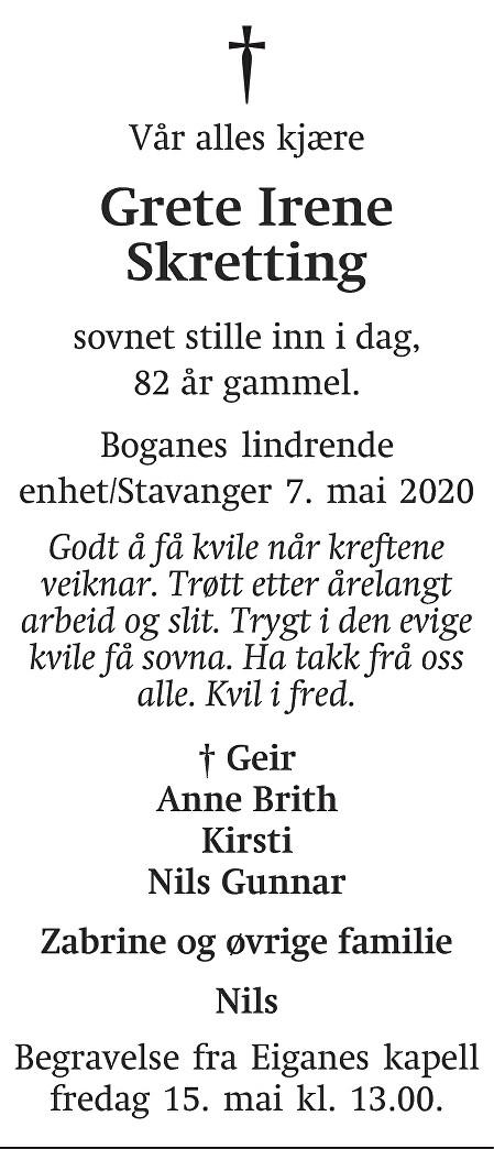 Grete Irene Skretting Dødsannonse