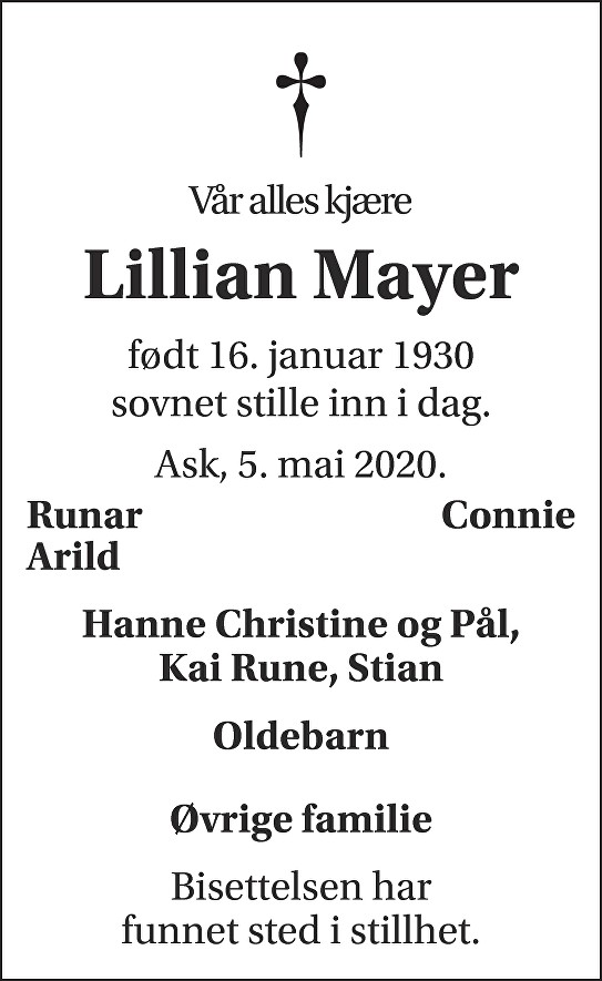 Lillian Helen Mayer Dødsannonse