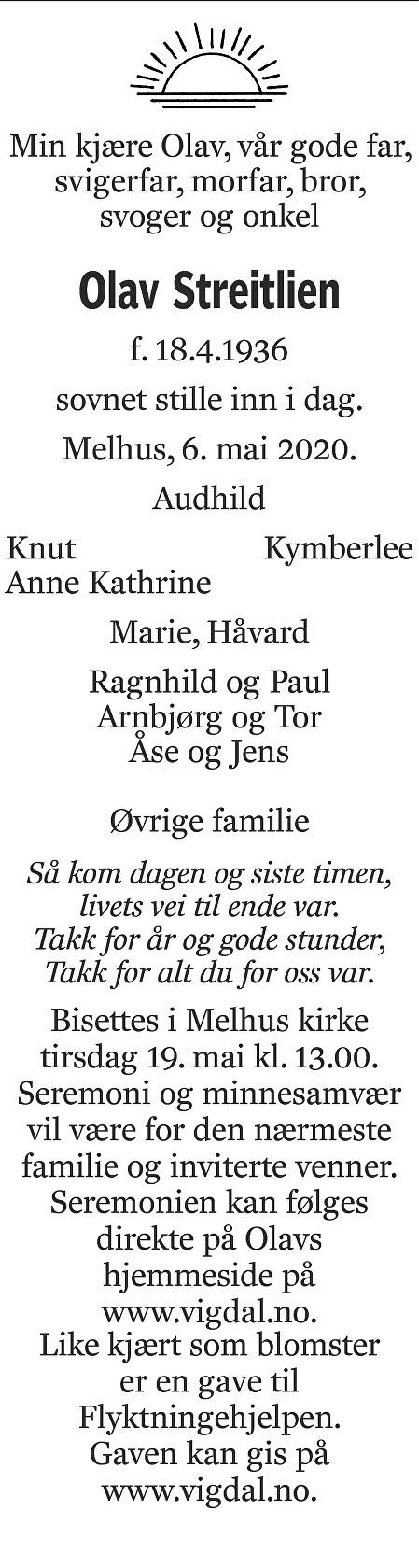 Olav Streitlien Dødsannonse