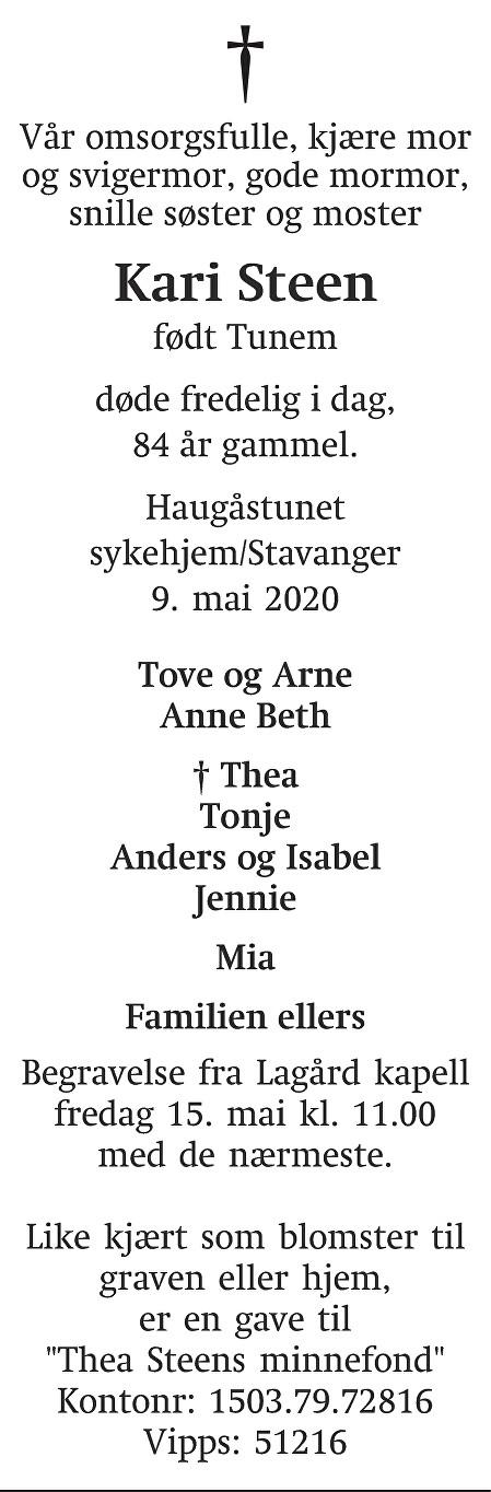 Kari  Steen Dødsannonse