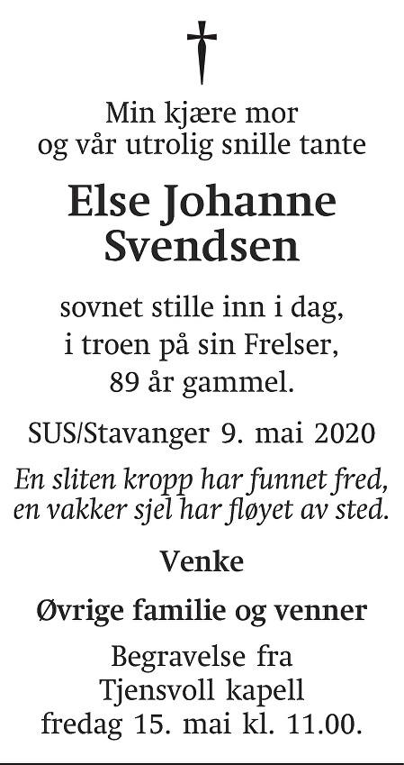 Else Johanne Svendsen Dødsannonse
