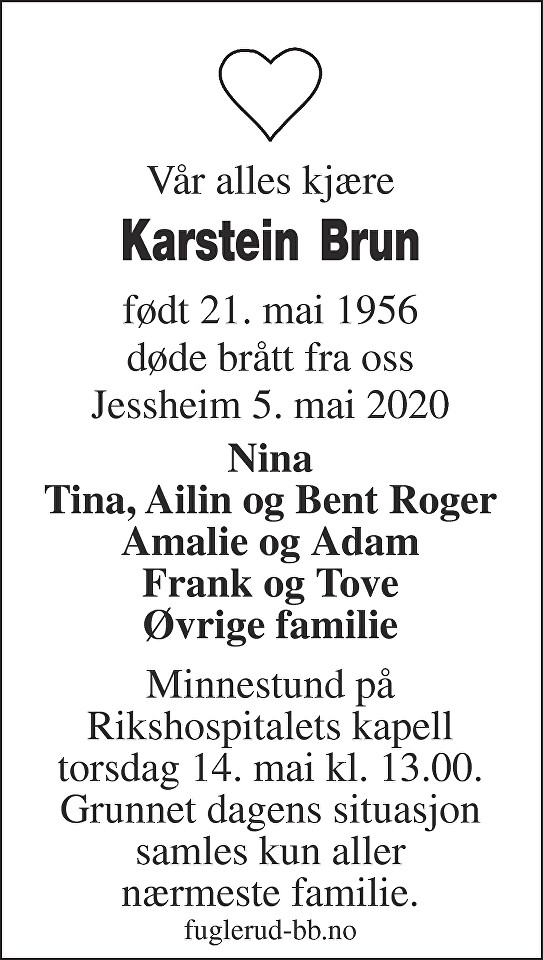 Karstein Magne Brun Dødsannonse