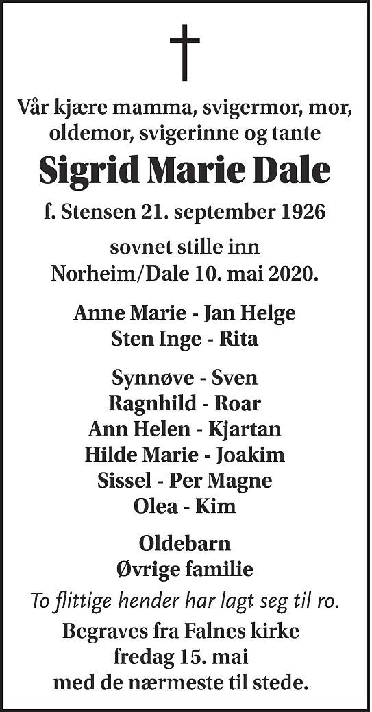 Sigrid Marie Dale Dødsannonse