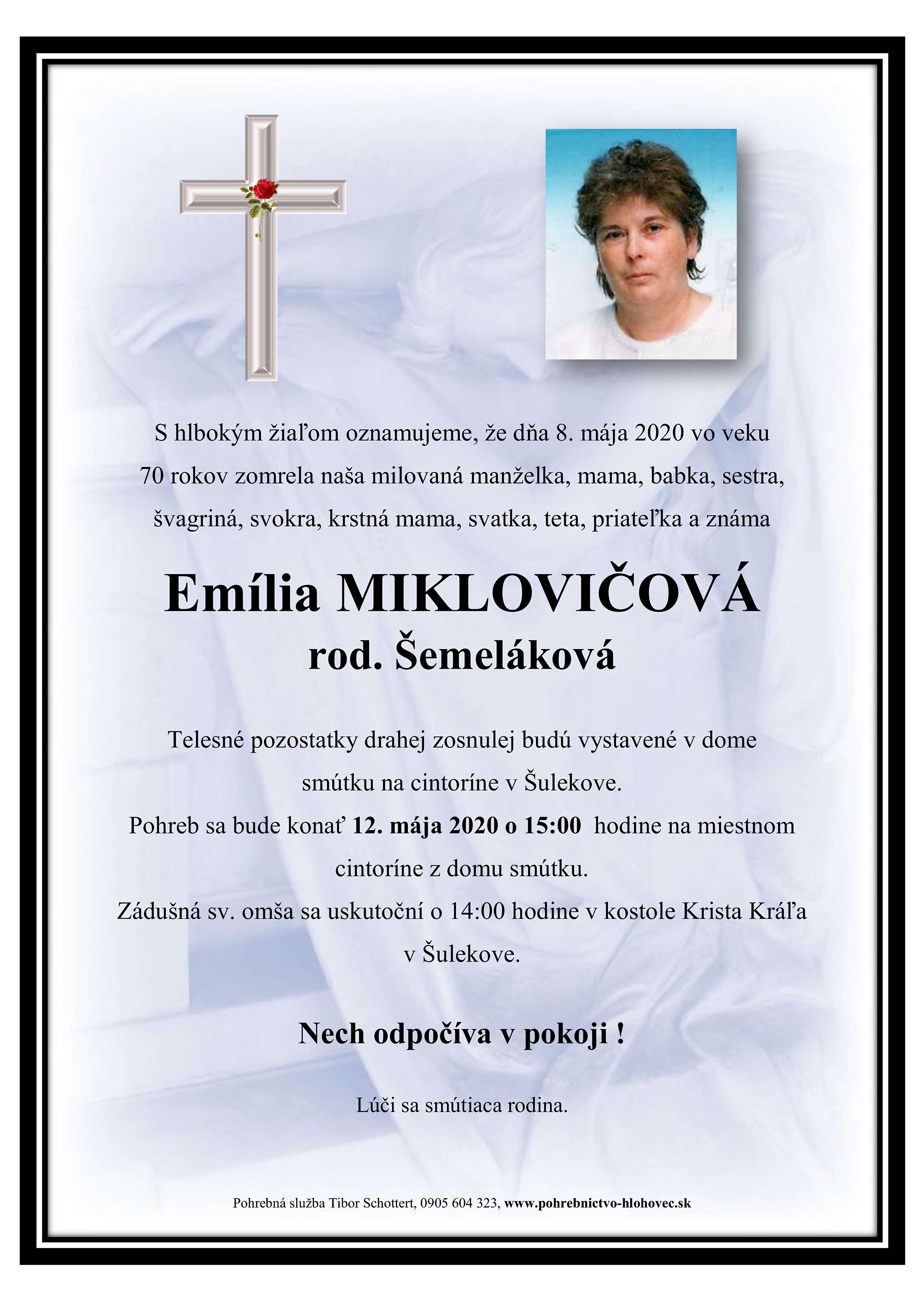 Emília Miklovičová Parte
