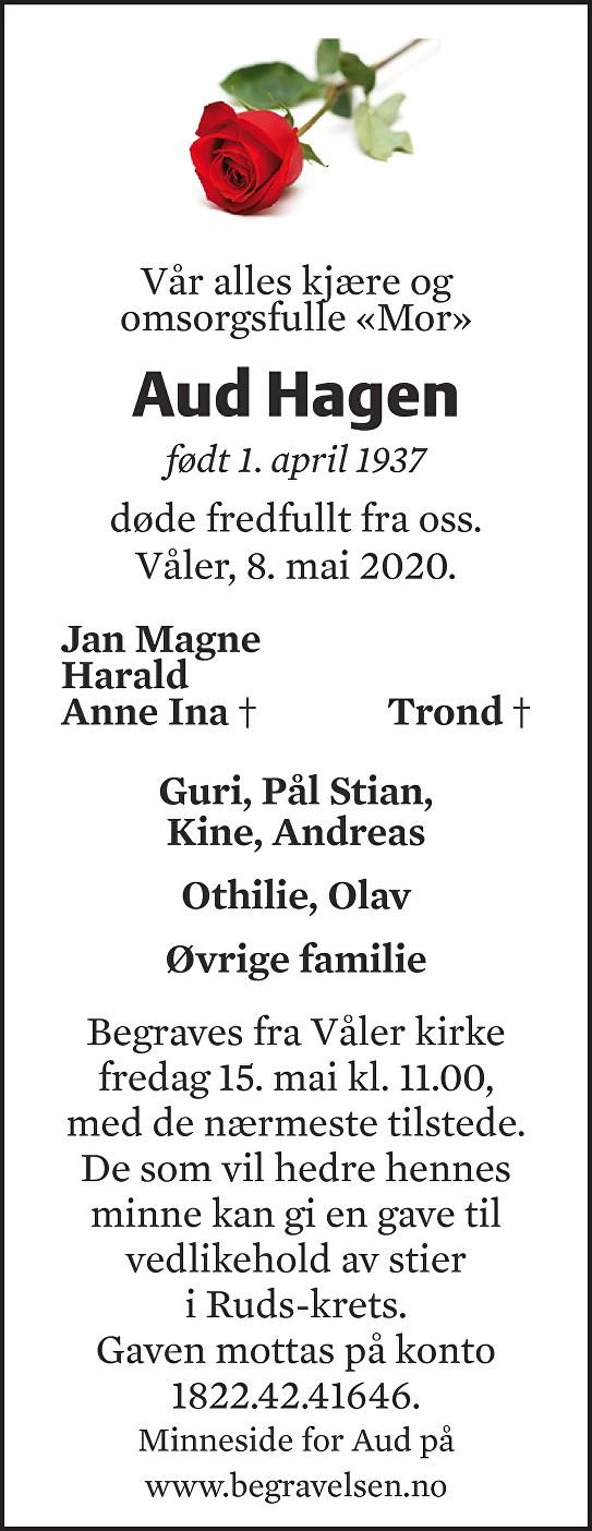 Aud Hagen Dødsannonse