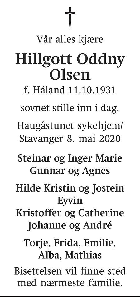 Hillgott Oddny Olsen Dødsannonse