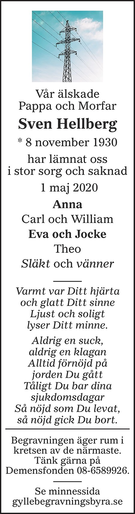 Sven Hellberg Death notice