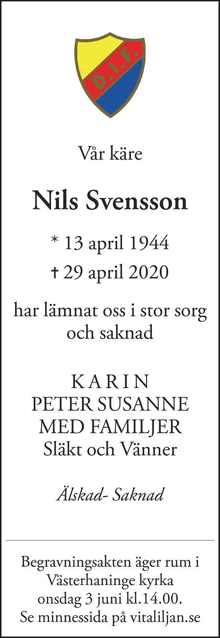 Nils Svensson Death notice