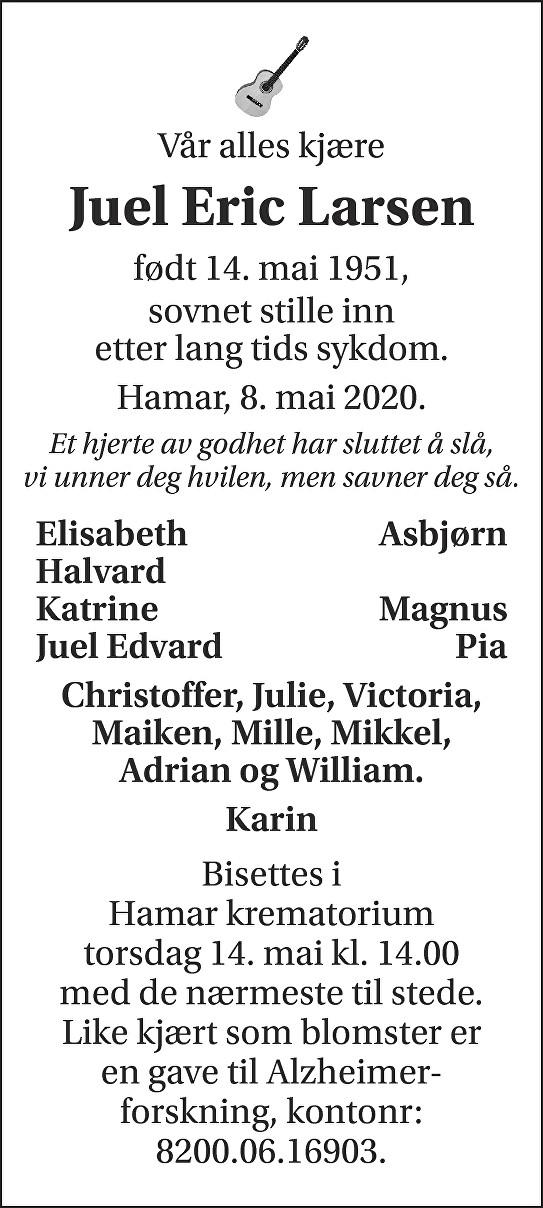 Juel Eric Larsen Dødsannonse
