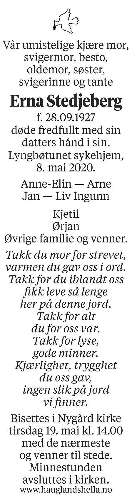 Erna Stedjeberg Dødsannonse