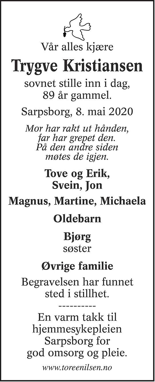 Trygve Johannes Kristiansen Dødsannonse