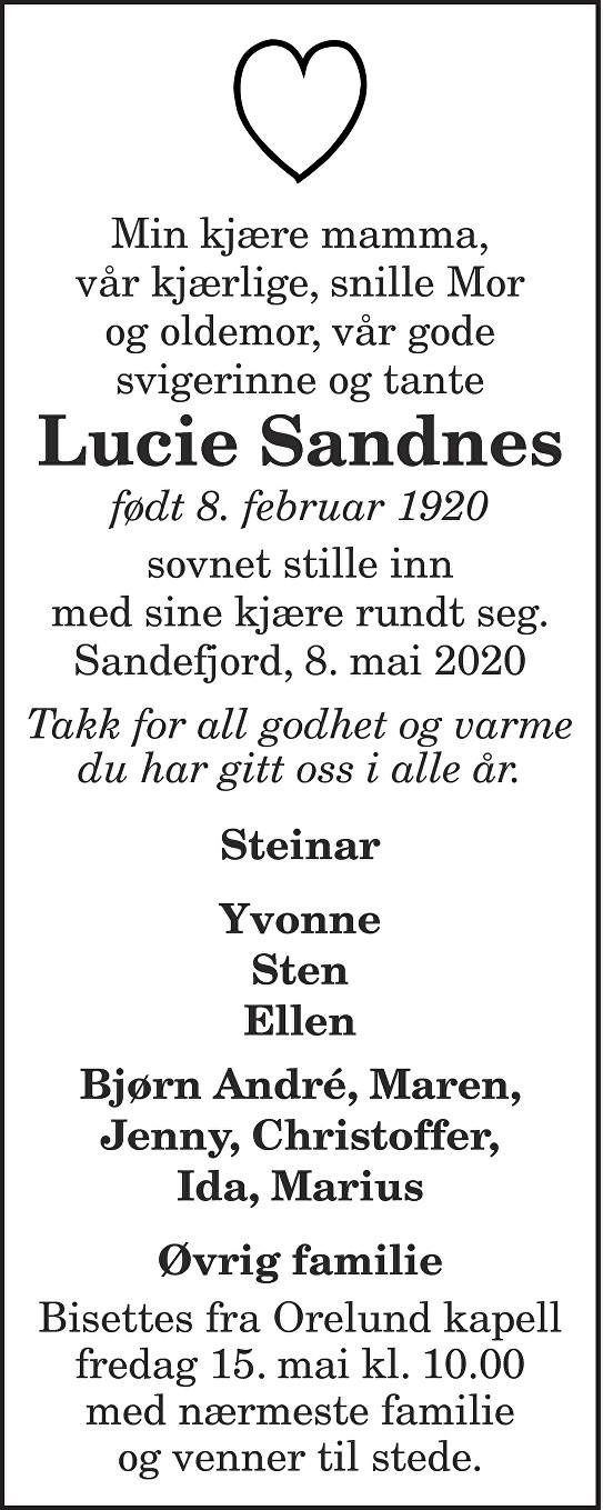 Lucie Sandnes Dødsannonse